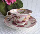 Antique Cup And Saucer Early Regout Dutch Polychrome Transferware 1860s