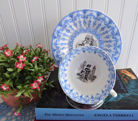 Antique Polychrome Transferware Cup And Saucer 1860s Blue White Gothic Joan Of Arc