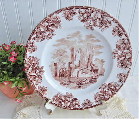 Copeland English Abbey Ruins Brown Transferware Salad Plate 1870s Antique Landscape