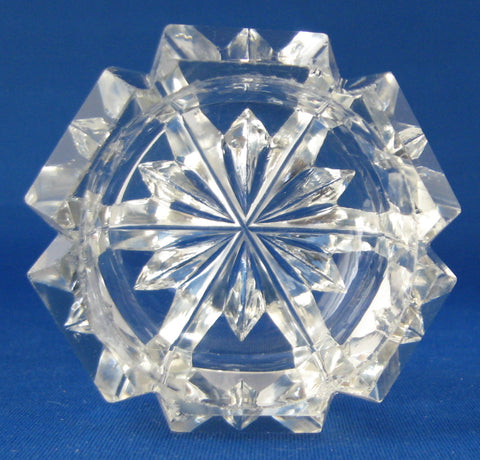 Master Open Salt English Hand Faceted Glass Victorian Hexagonal 1870s Fancy