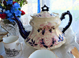 Flow Blue Art Nouveau English Teapot Late Victorian Red Transferware 1870-1890 As Is Survivor