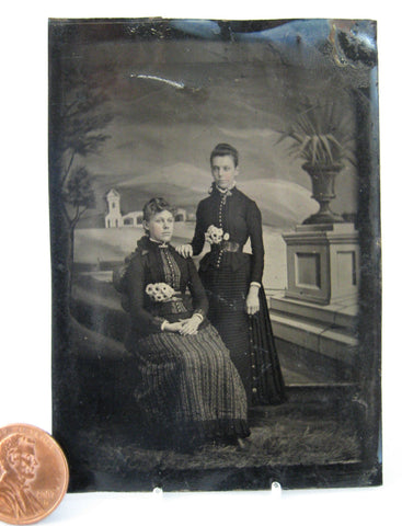 Tintype 2 Young Women Wasp Waist 1/6 Plate 1870s Painted Italian Backdrop Mid Victorian