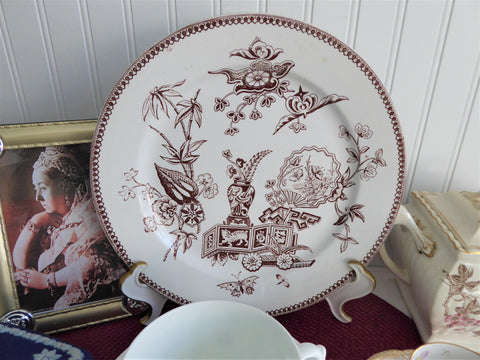 Aesthetic Movement Plate Lily And Vase Brown Transferware Dinner 1878 Elsmore Fan Asian
