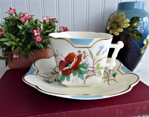 Antique Staffordshire Aesthetic Cup And Saucer 1880s Hand Colored Poppies Butterflies Squared