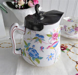 English Aesthetic Movement Hot Water Jug Pewter Lid English Mid Victorian Floral Pitcher 1880s