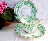 Antique Staffordshire Green Transferware Teacup Trio Ironstone 1880s Floral