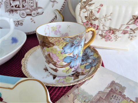 Superb Haviland Limoges Demitasse Cup And Saucer Ornate 1880s Blue Floral Gold Overlay