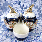 Bunny Rabbit Antique Staffordshire Condiment Set Imari 5 Pieces 1880s