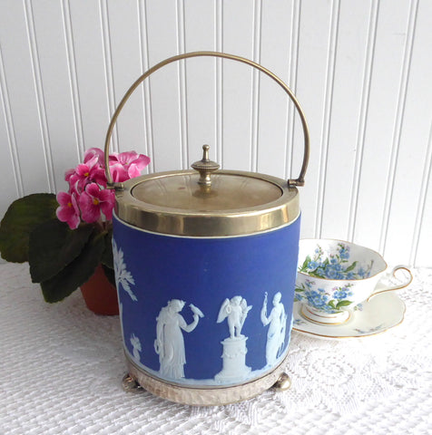 Wedgwood Biscuit Barrel Cookie Jar Wedgwood Jasperware Dip 1880s Bun Feet