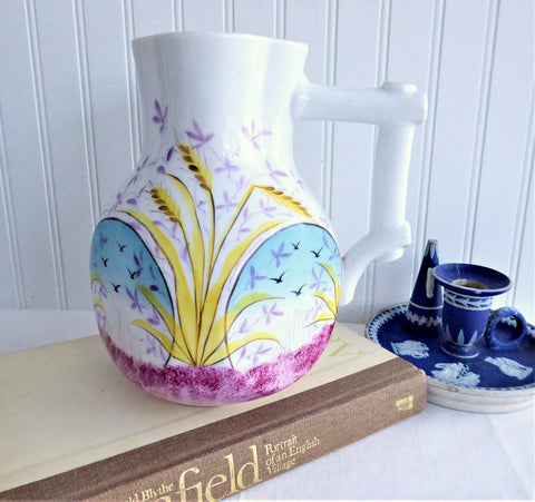 Aesthetic Movement Jug Pitcher English Mid Victorian Floral Hand Painted 1880s