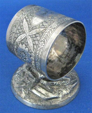 Aesthetic Movement Napkin Ring Pedestal Tufts USA Antique 1880s Victorian