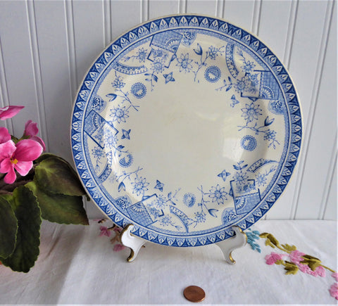 Aesthetic Movement Plate Cairo Blue Transferware Dinner 1880s Booths Japonesque