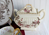 Brown Transferware Sucrier Sugar Box Tea Caddy Roses 1880s Canister Jar USA Burroughs