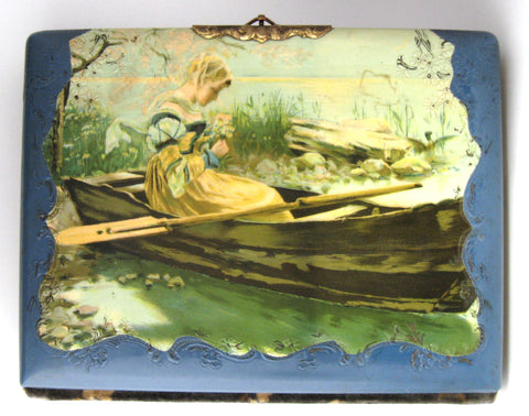 Victorian Photo Album Woman In Boat Celluloid Blue Velvet Back 1880s Cabinet Cards
