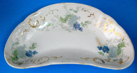 Crescent Bone Dish Victorian Lilacs Transferware USA 1880s Taylor Knowles Side Dish