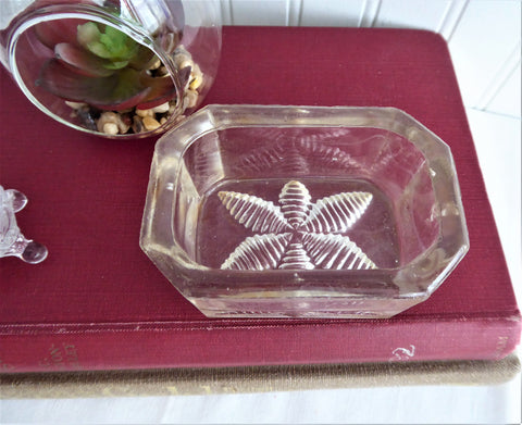 Large Antique Master Open Salt Cut Crystal Victorian Leaf Bottom Faceted 1880s