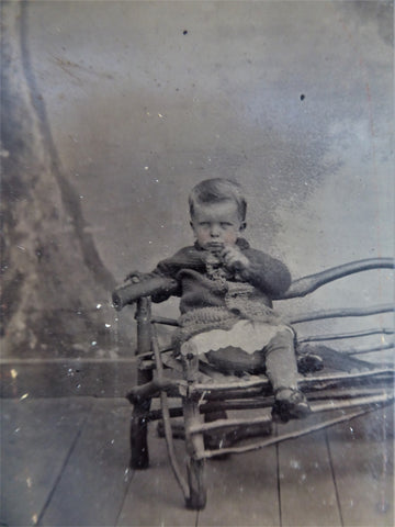 Tintype Frowning Child On Twig Bench 1/6 Plate 1880s Mid Victorian Photographica