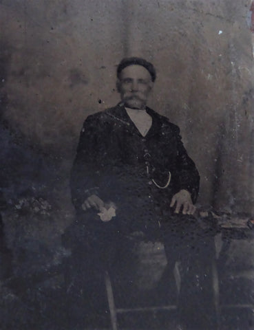 Tintype Man With Moustache In Chair 1/6 Plate 1880s Mid Victorian Photographica