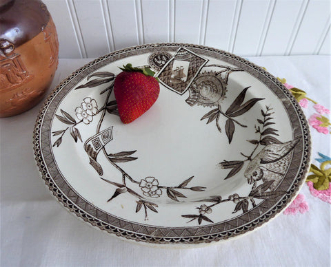 Aesthetic Movement Victorian Soup Plate Bowl 1881 England Brown Transferware 9.25 Inch Ironstone