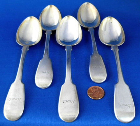 Victorian Large Fiddle Dessert Spoons 5 Serving Spoons Levesley 1883 UK Mono Boat