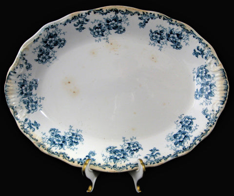 English Ironstone Blue Transferware Platter Blue Floral Weatherby Trentham 1892-1905