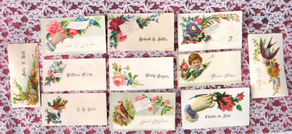 Victorian Original 11 Visiting Cards Calling Cards Boy Birds Hands ...