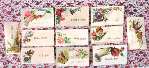 Victorian Original 11 Visiting Cards Calling Cards Boy Birds Hands Various Styles Lot 5