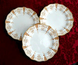 Superb Royal Crown Derby Salad Plate Set Of 3 Antique Art Nouveau Gold Festoons 1890s