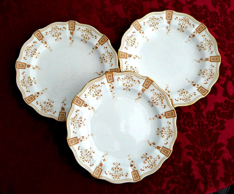 Superb Royal Crown Derby Salad Plate Set Of 3 Antique Art Nouveau Gold Festoons 1890s : art nouveau plates - pezcame.com