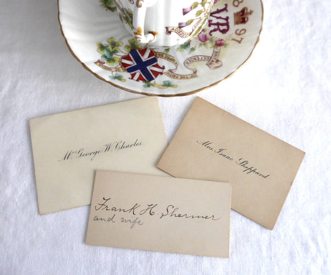 Victorian  Set Of 3 Calling Cards Visiting Cards Gift Cards 1890s Ephemera Teatime Decor