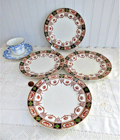 Set of 4 Imari 7 Inch Plates Colclough 1890s England Swags Gold Rust Cobalt Green
