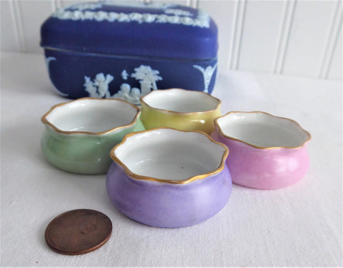 Four Open Salts English Victorian Colors Pink Green Yellow Lavender Pouches 1890s