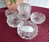 Set Edwardian Open Salts 6 Faceted Crystal Salt Cellars Waffle Button Diamond