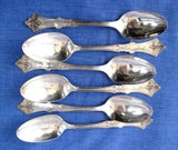 American Sterling Silver 6 Teaspoons Geo. Shiebler And Co Clematis 1890s Mono E T French Art Nouveau
