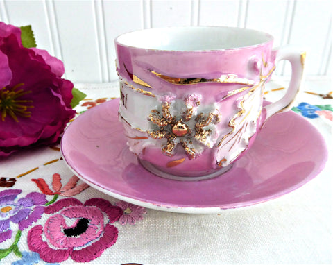 A Present Pink Luster Victorian Souvenir Cup And Saucer Raised Gold Flower 1890s Copper Luster