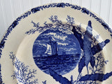 Aesthetic Movement Plate Flow Blue Ocean Scenes Blue Transferware 1890s Seashells 10.5