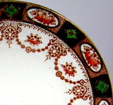 Victorian 10 Inch Imari Dinner Plate Colclough 1890s England Swags Gold Rust Cobalt Green