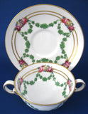Copelands Spode Antique Bouillion Cup And Under Saucer 1890s Swags Roses