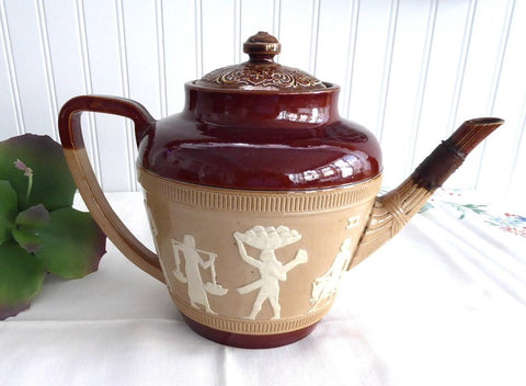 Egyptian Revival Teapot 1890s Royal Doulton England Egyptian Symbols Spout Repair Applied Sprig