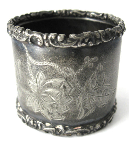 Edwardian Napkin Ring English Pewter Hand Engraved Floral Initial M or W