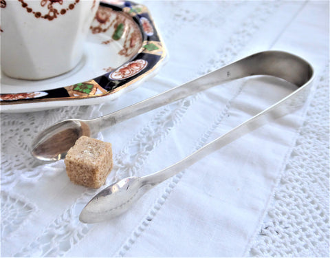 Sugar Tongs 1810 London Victorian English Hallmarked Sterling Silver Spoon Ends