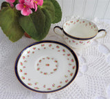 George Jones Crescent Double Handle Cream Soup w Underplate Rosebuds Navy Gold