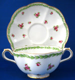 Gorgeous Crescent Cream Soup And Saucer Rosebuds 1890s George Jones