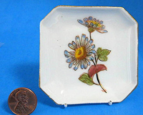 Butter Pat Antique Daisies Gold Square Teabag Caddy Mark & Butherz Germany 1890s