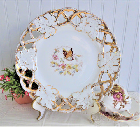 Victorian Floral Butterfly Plate Reticulated Rim 1890s Antique German Transferware