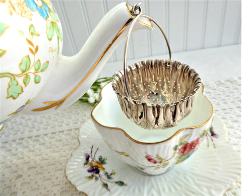 Gorham Sterling Silver Teapot Spout Tea Strainer Basket Pouch 1890s Tea Leaf Catcher
