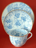 Teacup Trio Teal Transferware Cup Saucer Plate England Blue And White Grainger 1880s