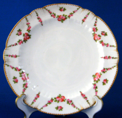 Antique George Jones Crescent Plate 7 Inch Cake Rose Swags 1890s Delicate Salad
