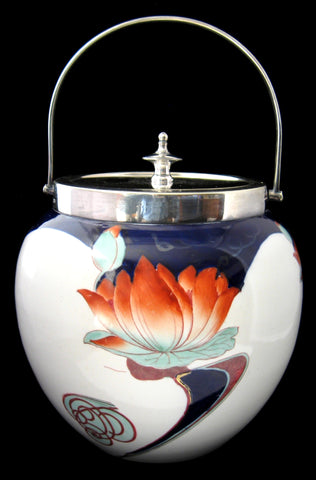 Victorian George Jones Art Nouveau Biscuit Jar McIntosh Water Lilies 1890s