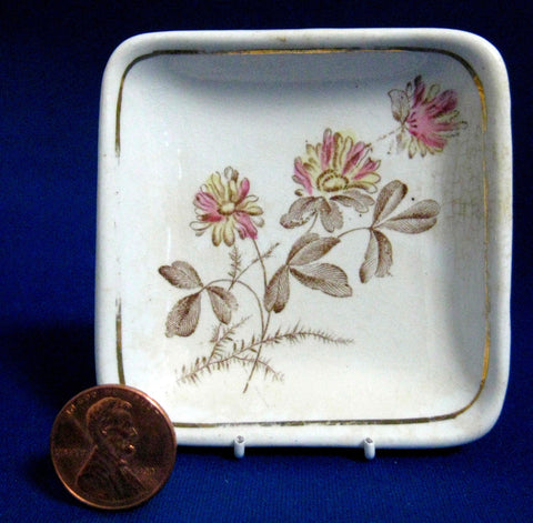 Brown Transferware Butter Pat English Wilkinson Square 1890s Teabag Caddy